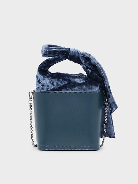 Bow Detail Handle Bucket Bag, Blue, hi-res