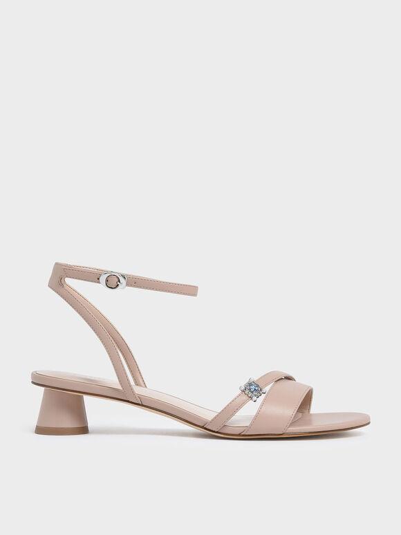 Gem Embellished Cylindrical Heel Sandals, Nude, hi-res