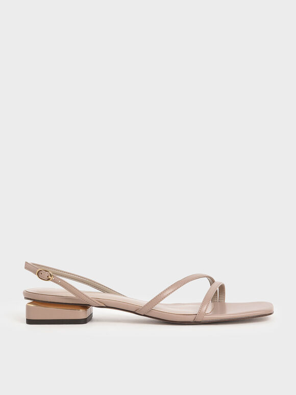 Strappy Slingback Heels, Taupe, hi-res