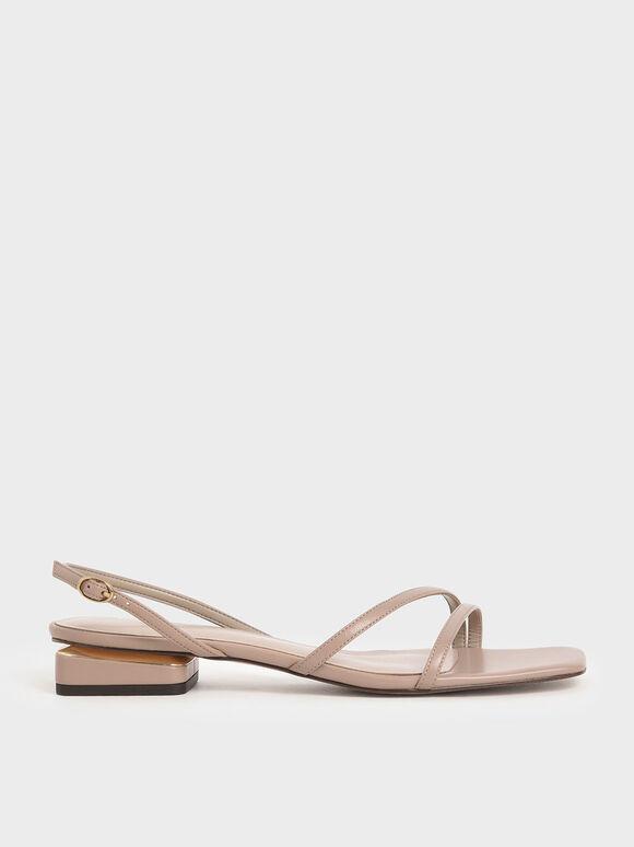 線條方頭涼鞋, 灰褐色, hi-res