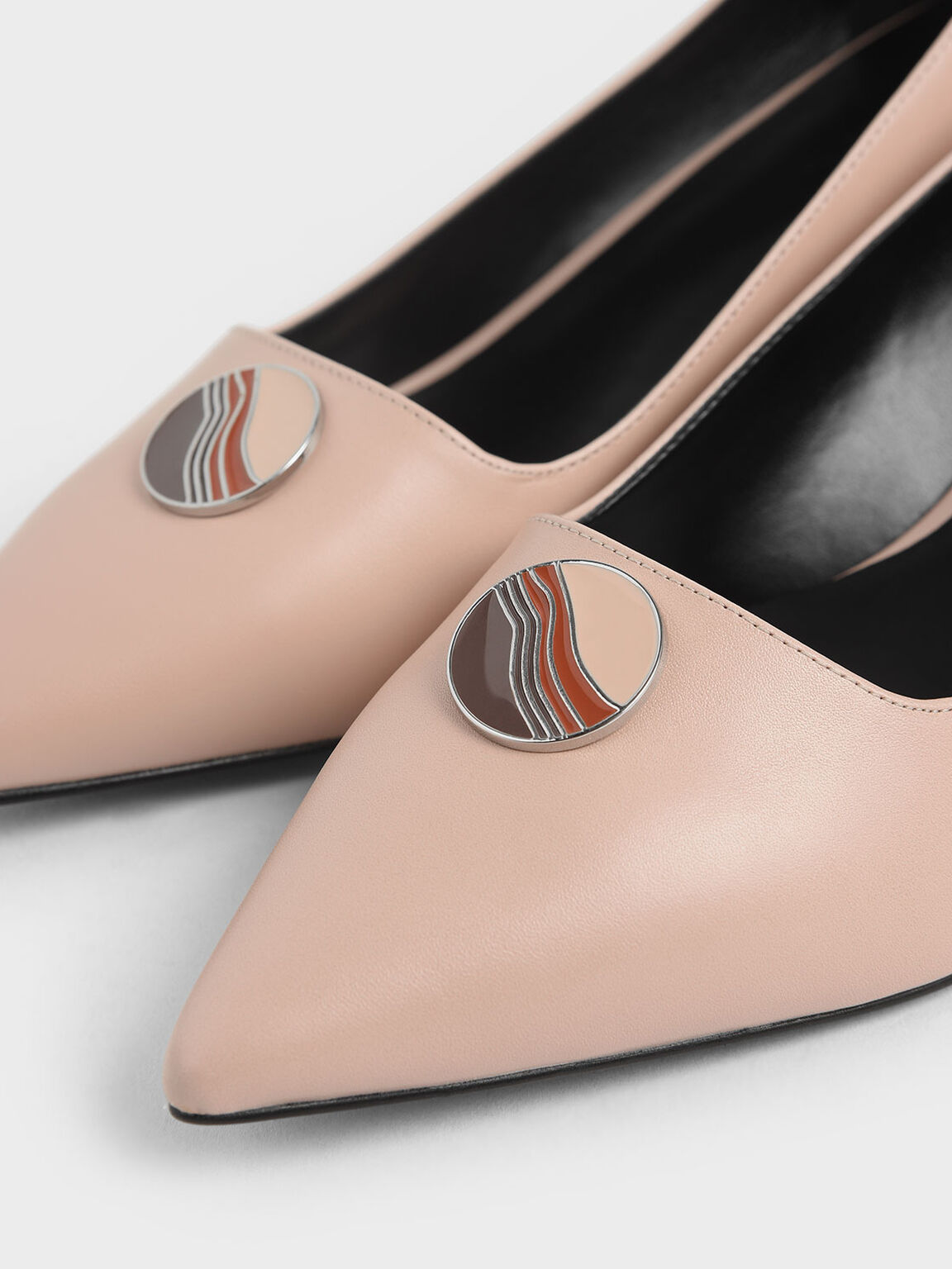 Striped Button Detail Kitten Heel Pumps, Nude, hi-res