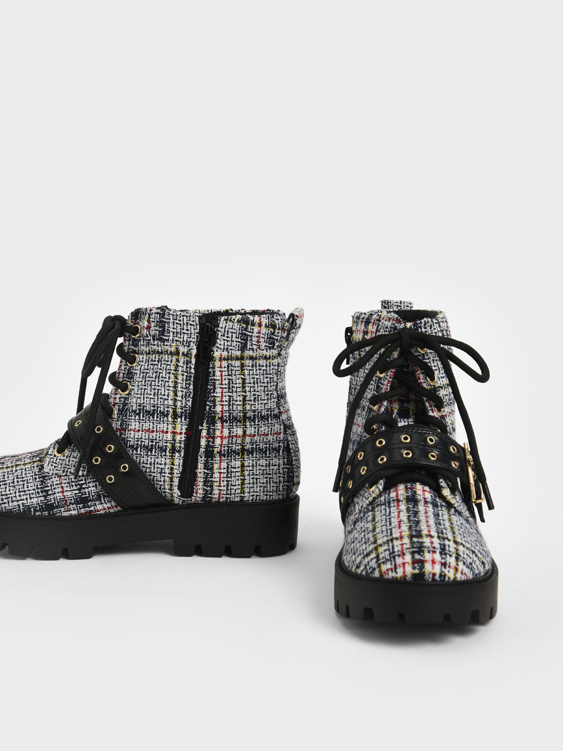 Girls' Tweed Lace-Up Ankle Boots, Dark Blue, hi-res
