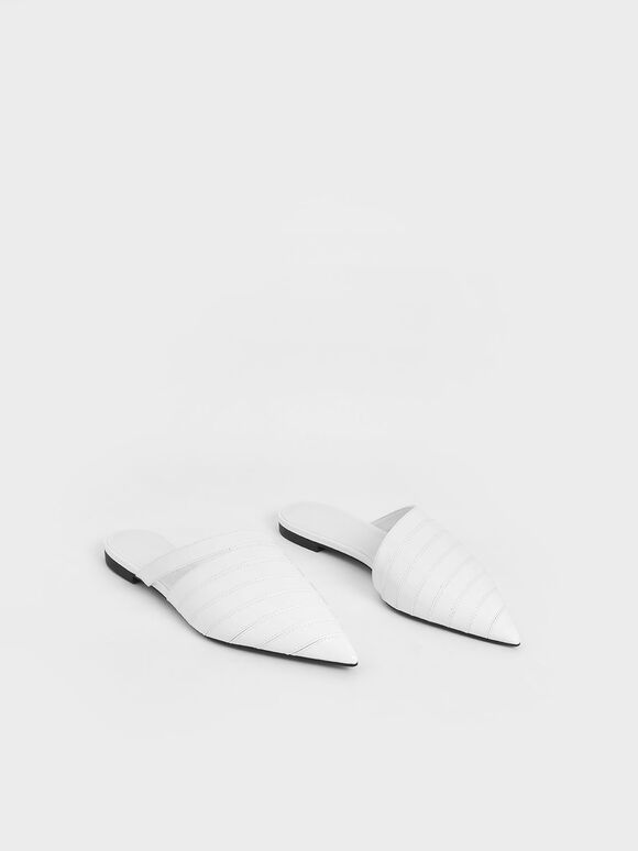 Asymmetric Pointed Toe Mules, White, hi-res