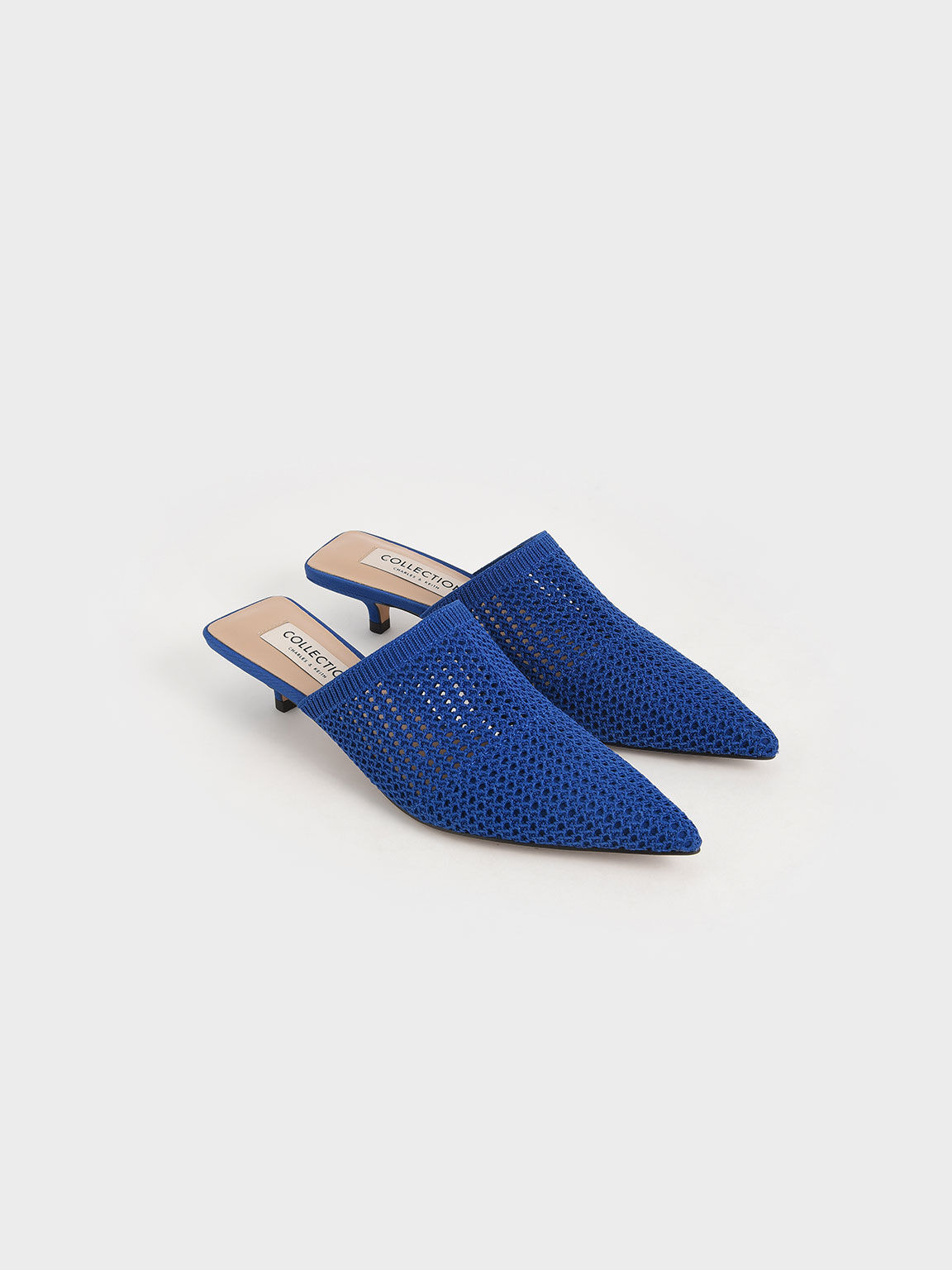Knitted Kitten Heel Mules, Blue, hi-res