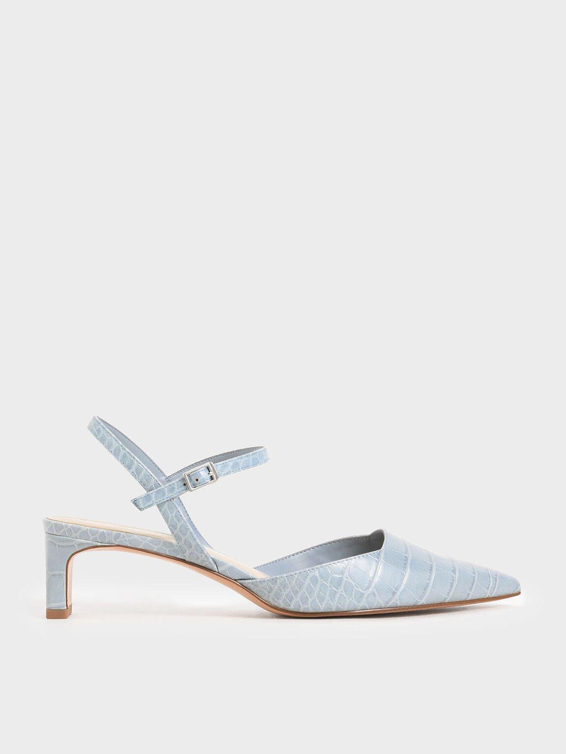 Croc-Effect Ankle Strap Pumps, Blue, hi-res