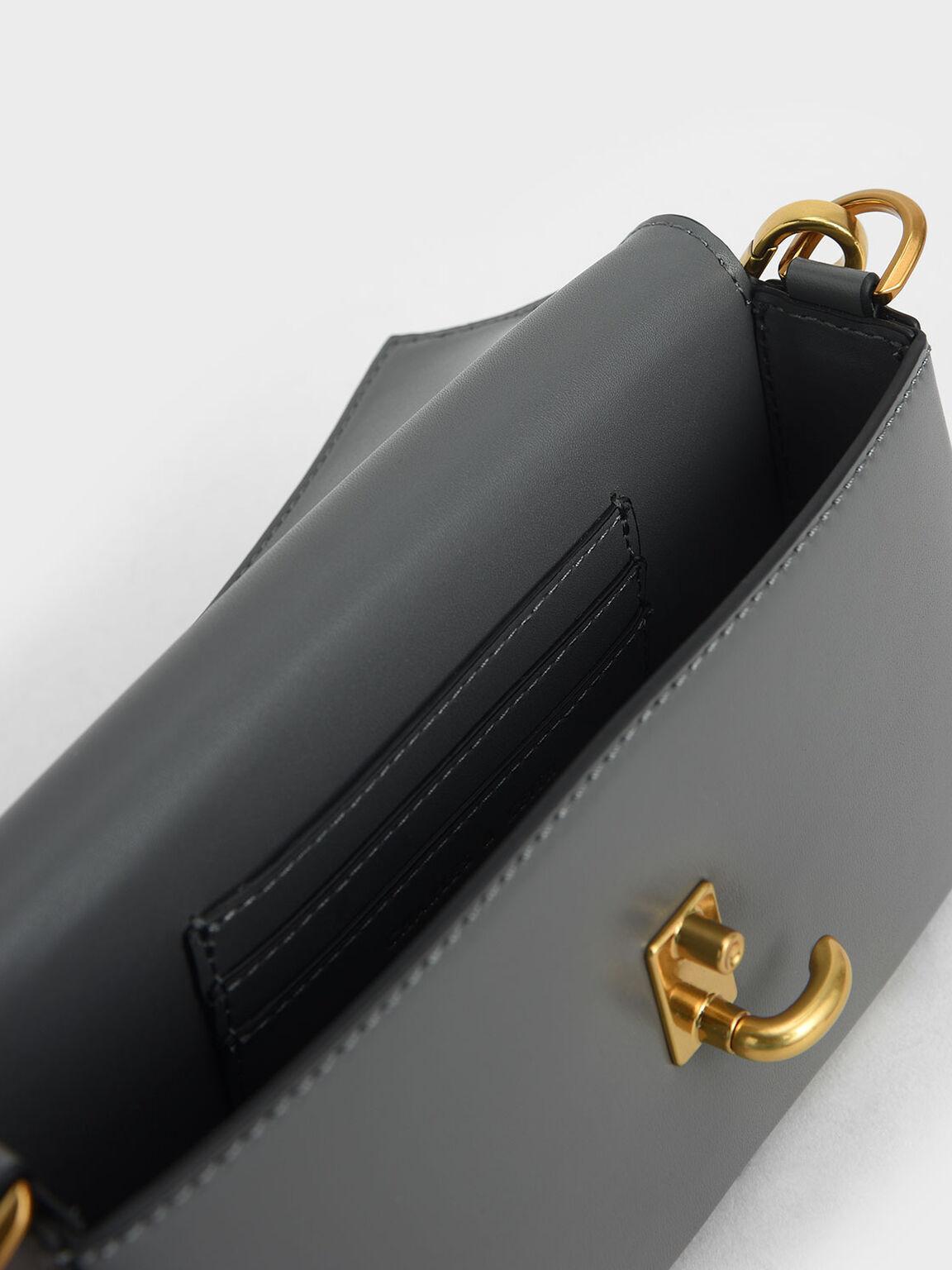 Turn-Lock Front Flap Bag, Grey, hi-res