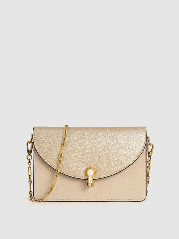 Textured Turn-Lock Clutch, Nude, hi-res