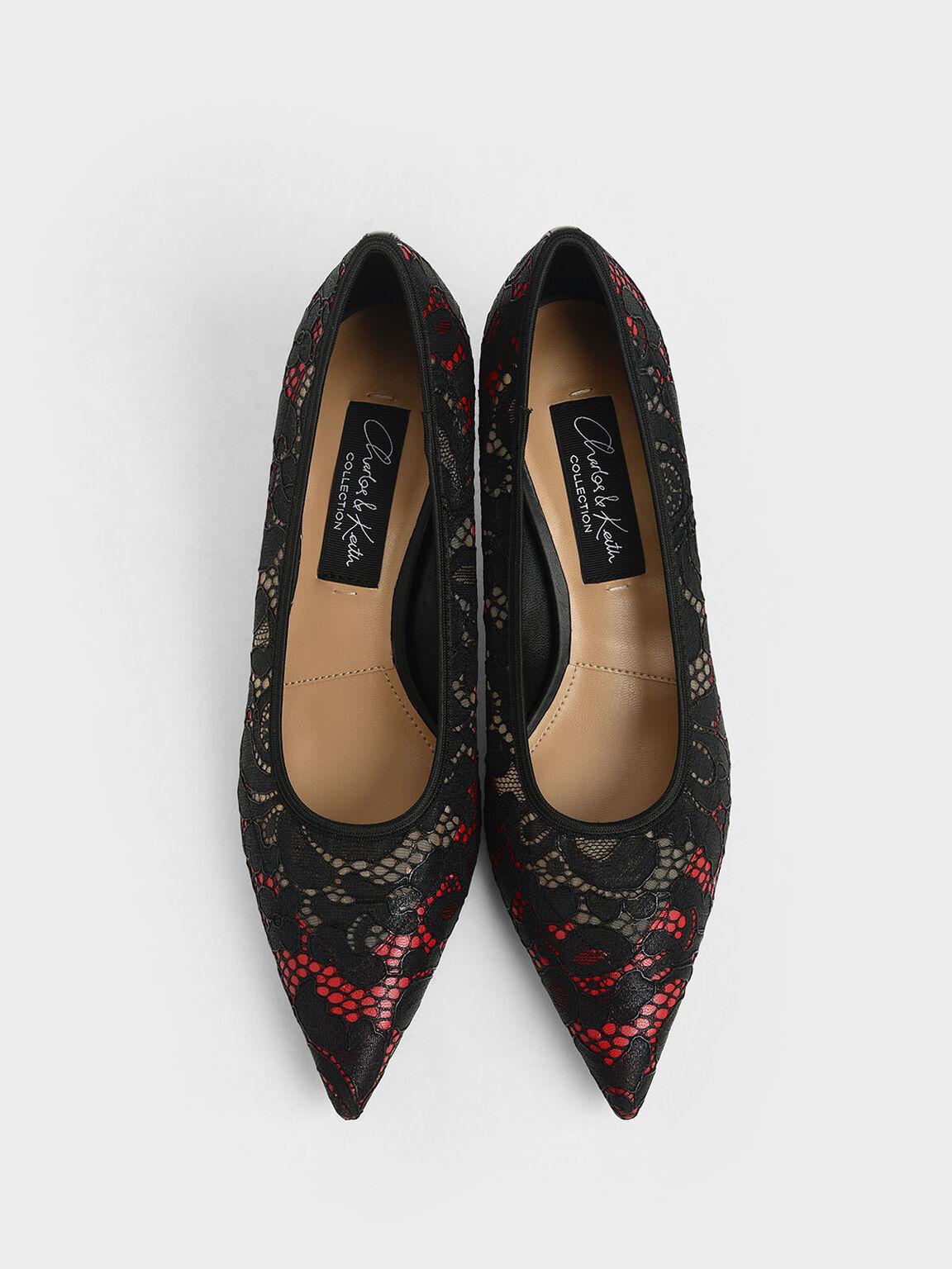 蕾絲雕花跟鞋, 紅色, hi-res