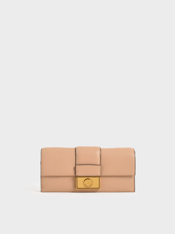 Push-Lock Long Wallet, Beige, hi-res