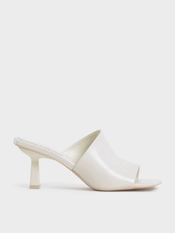 幾何寬面細跟拖鞋, 石灰白, hi-res