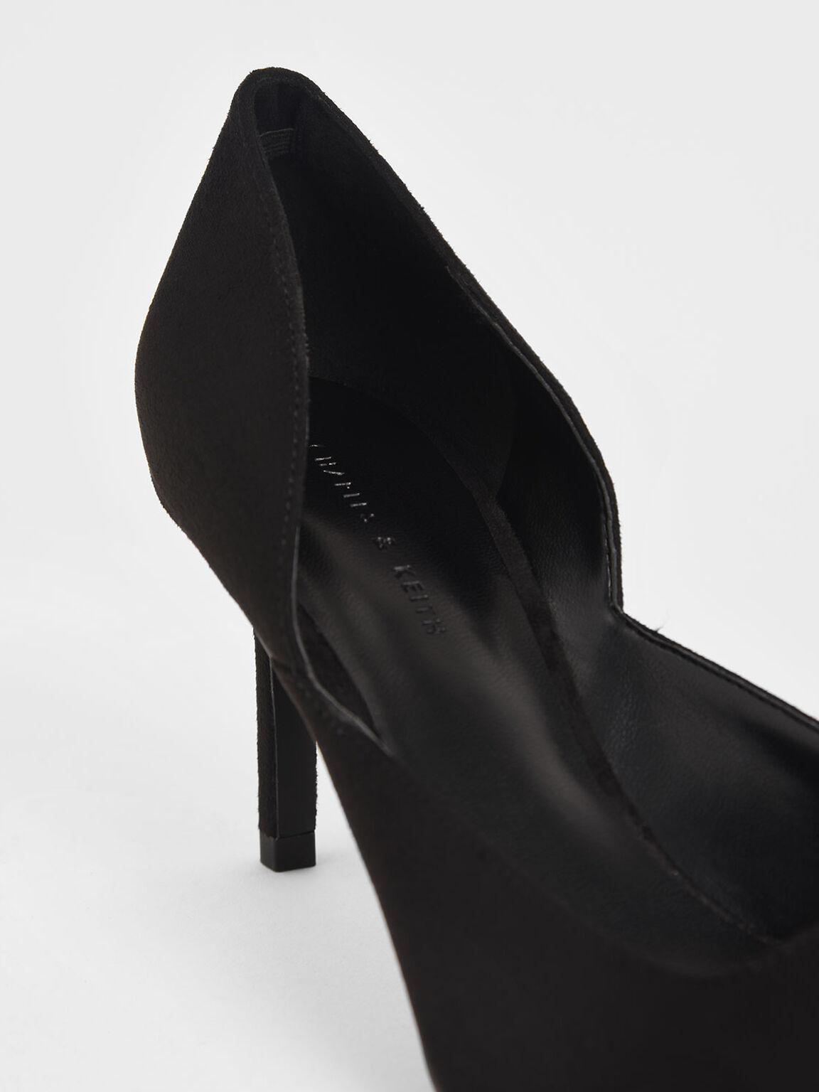 Textured D'Orsay Stiletto Pumps, Black, hi-res