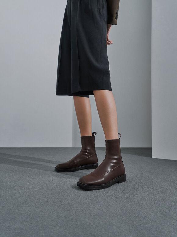 方頭拉鍊短靴, 深咖啡, hi-res