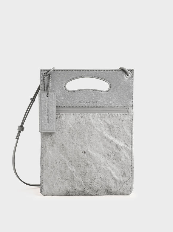 Crumpled-Effect Top Handle Clutch, Grey, hi-res