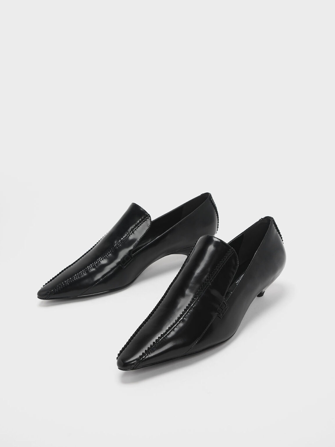 Zigzag Detail Leather Kitten Heel Loafers, Black, hi-res