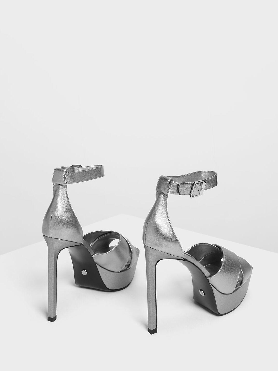 Satin Platform Heeled Sandals, Pewter, hi-res