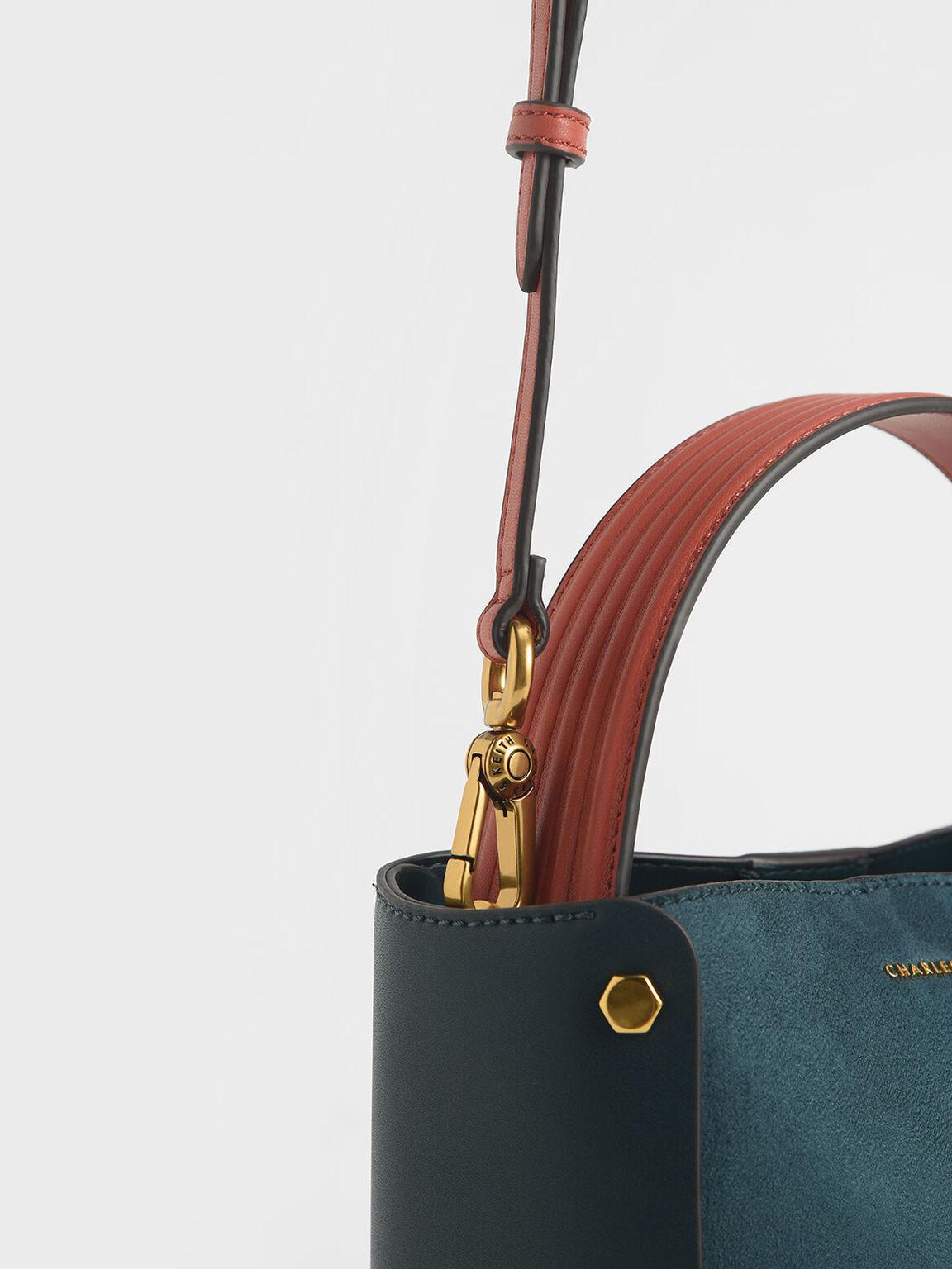 Textured Bucket Bag, Teal, hi-res
