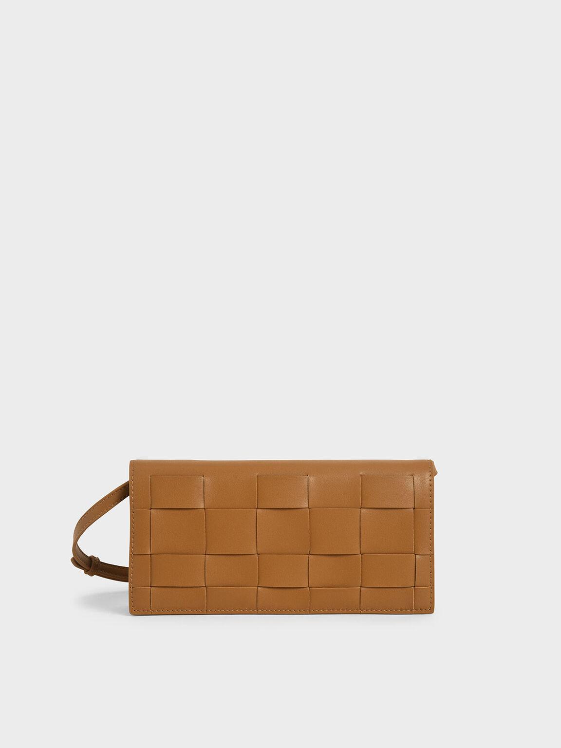 Woven Long Wallet, Camel, hi-res