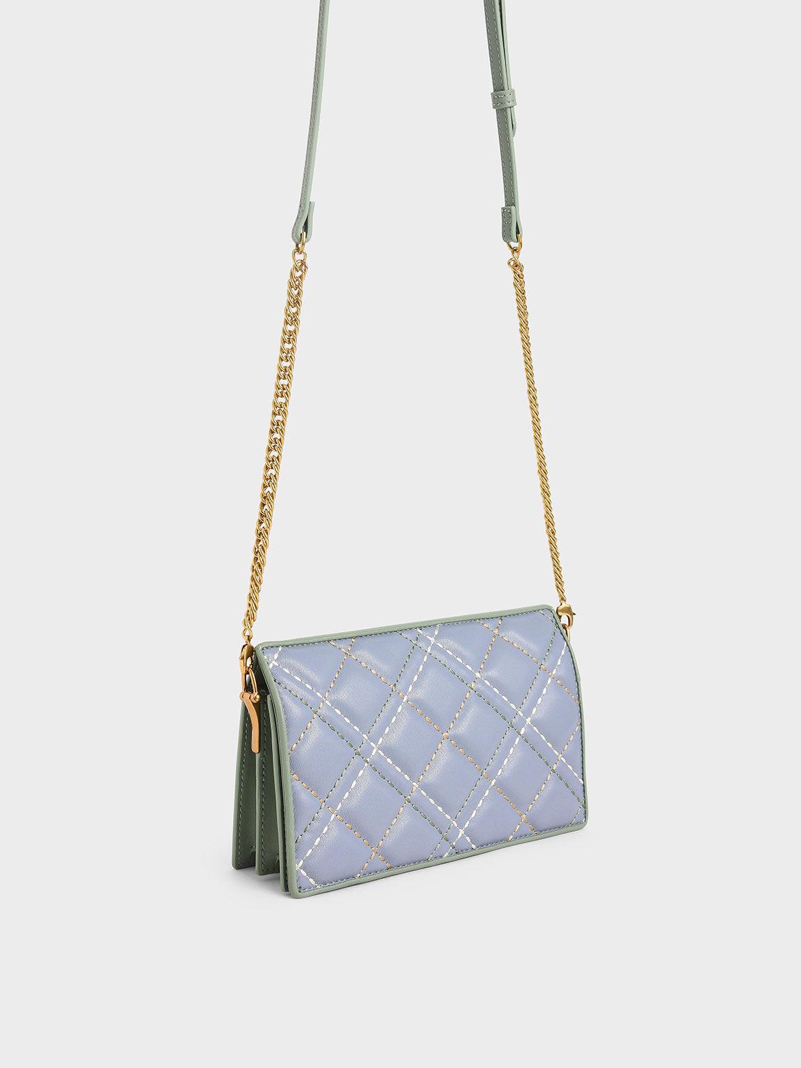 Quilted Long Wallet, Light Blue, hi-res
