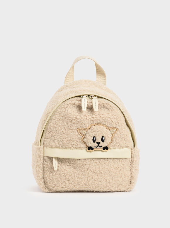Girls' Lamb Motif Furry Backpack, Chalk, hi-res