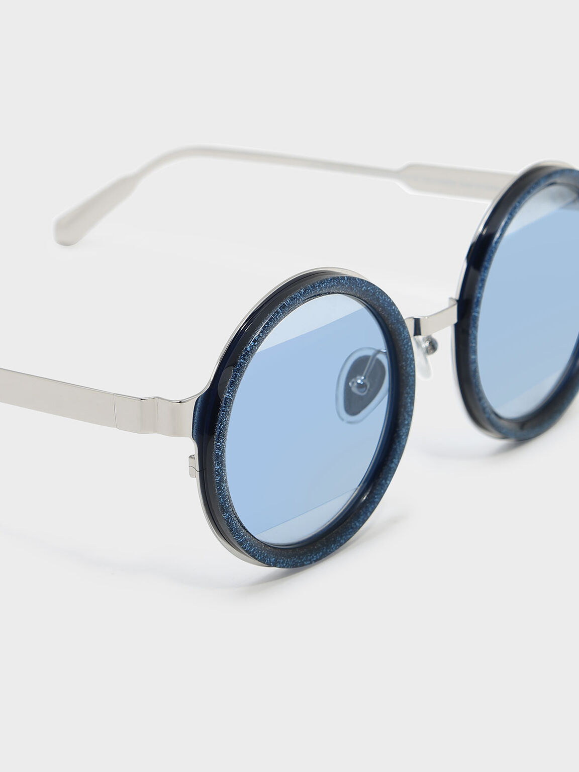 Round Frame Sunglasses, Blue, hi-res