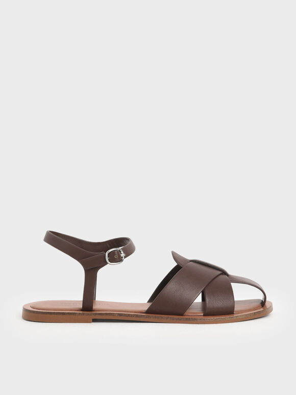 Peep Toe Flat Sandals, Dark Brown, hi-res