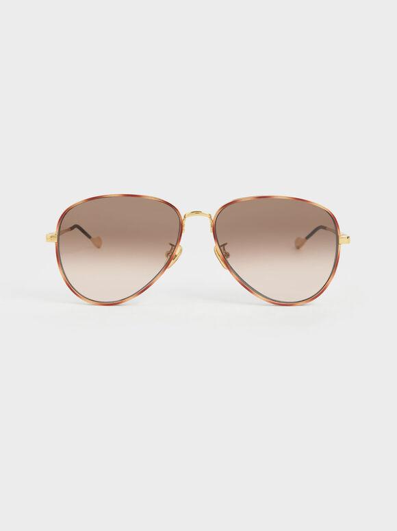 Tortoiseshell Tinted Aviator Sunglasses, T. Shell, hi-res