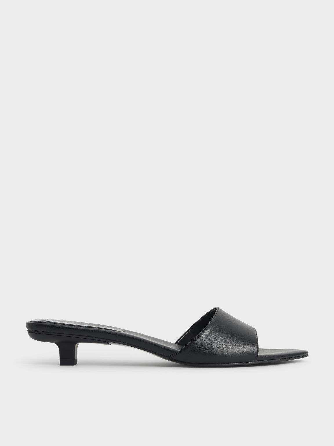 Kitten Heel Mules, Black, hi-res