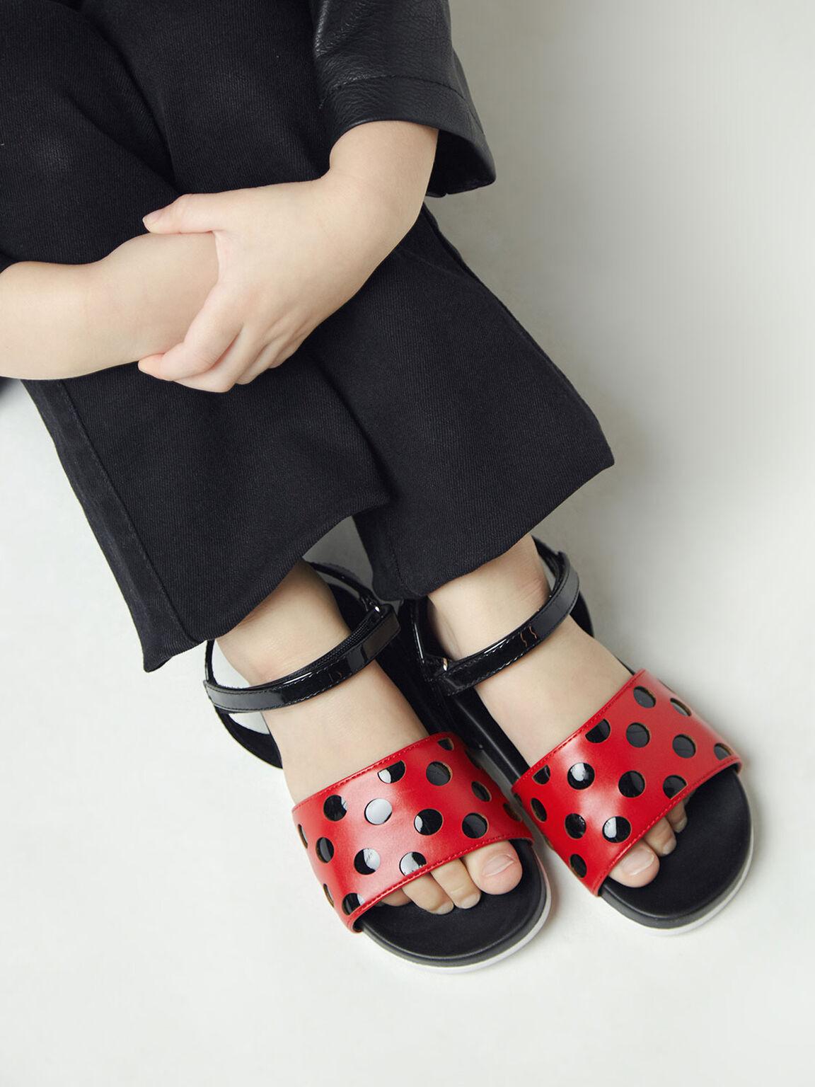 兒童點點拼接涼鞋, 紅色, hi-res