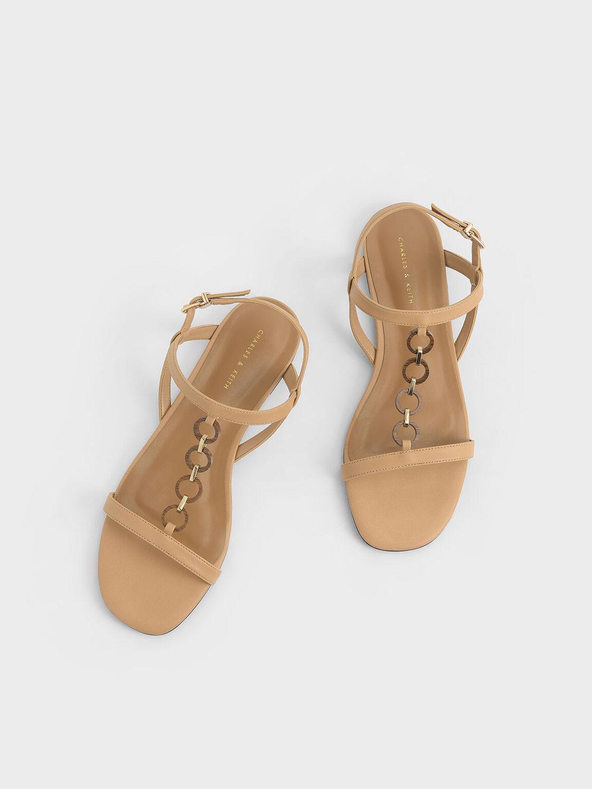 圓環鍊條涼鞋, 膚色, hi-res