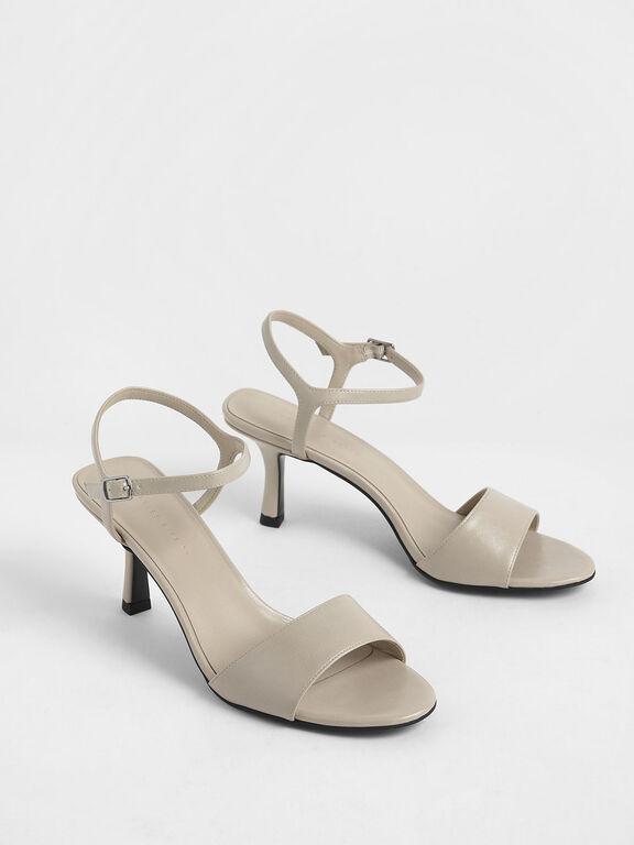 Sculptural Heel Open Toe Sandals, Cream