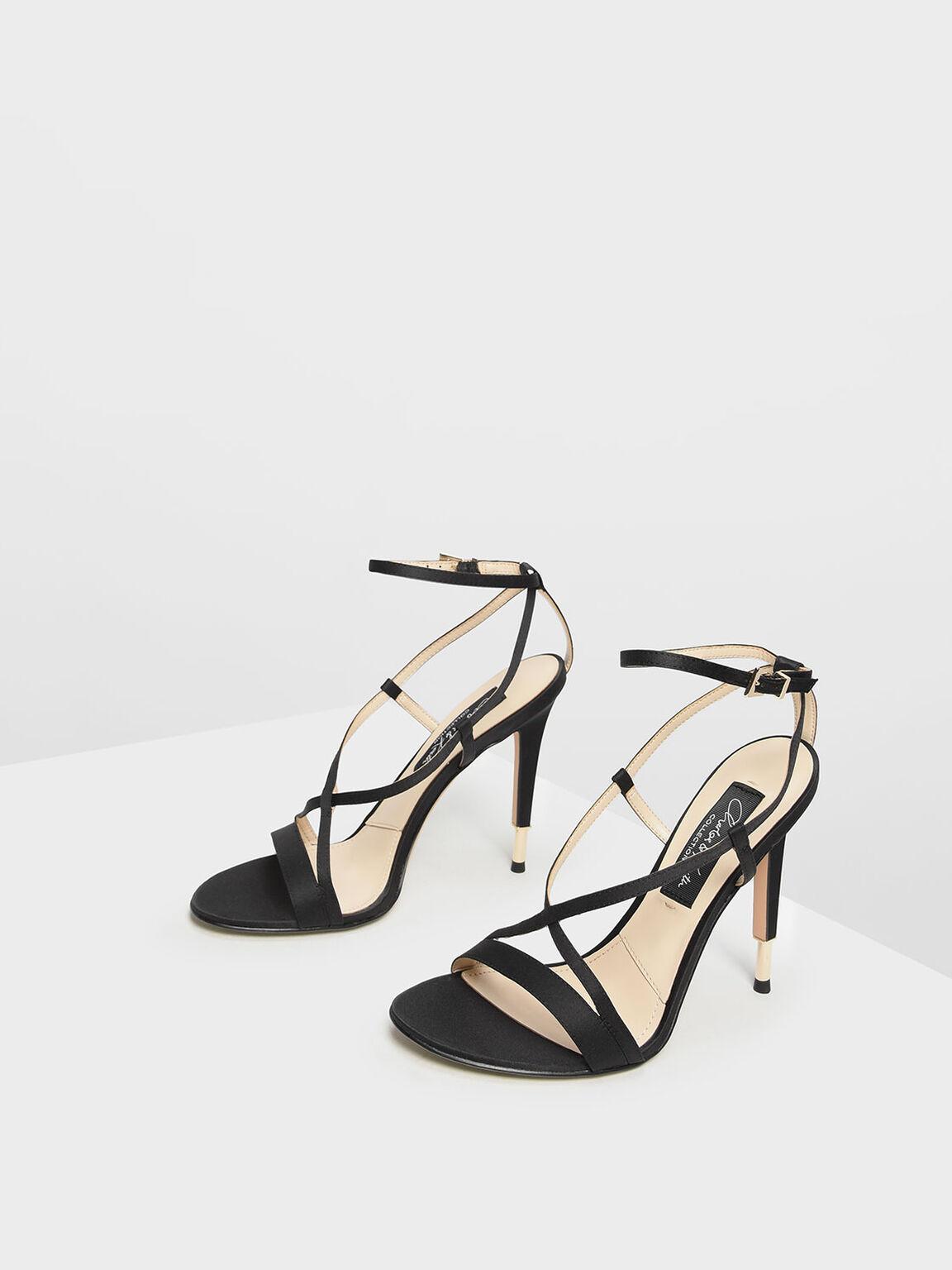 Satin Criss Cross Sandals, Black, hi-res