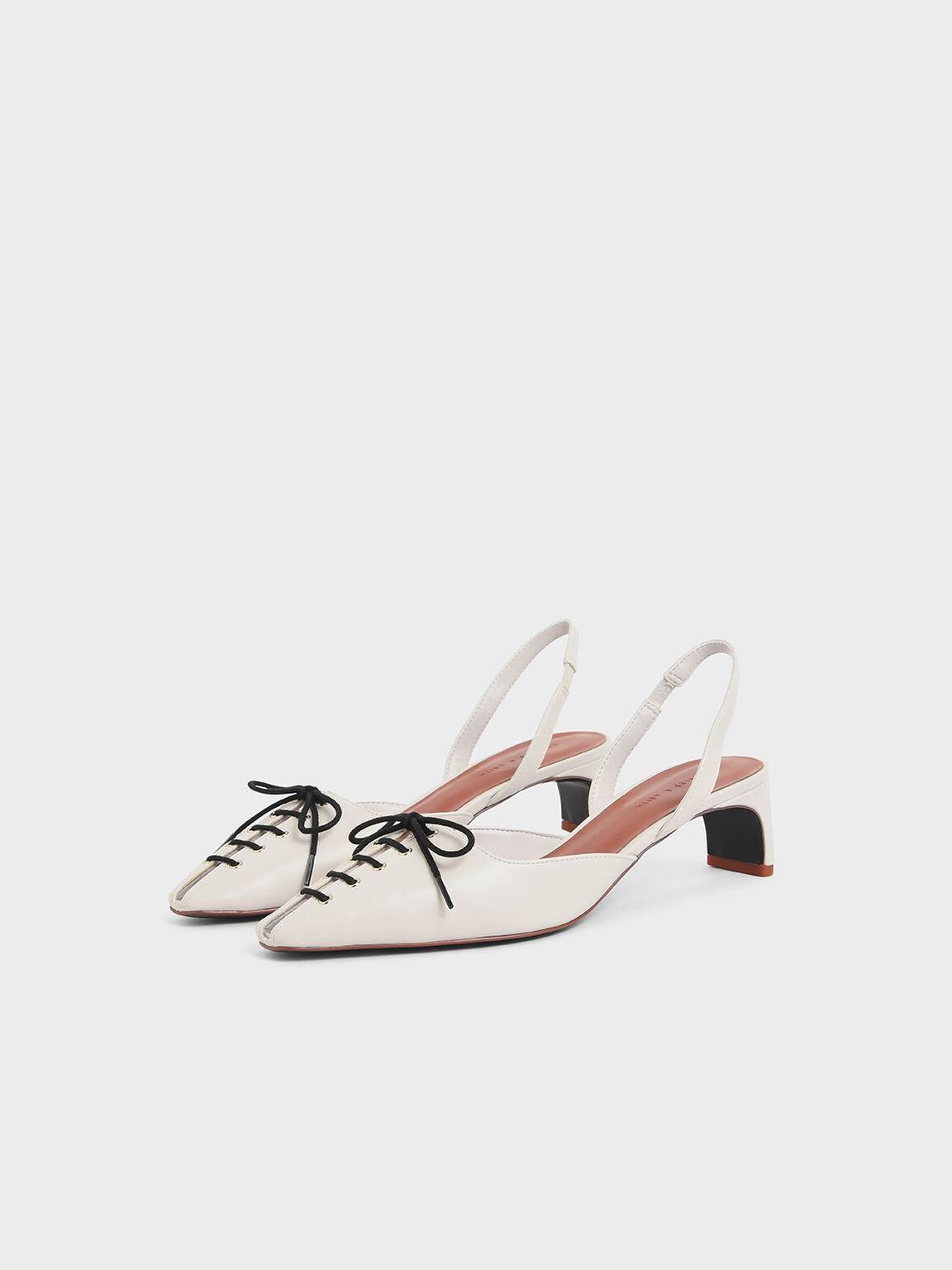 Lace-Up Slingback Heels, Cream, hi-res