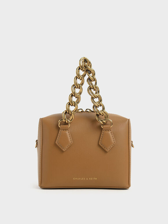Square Chunky Chain Handle Crossbody Bag, Caramel, hi-res