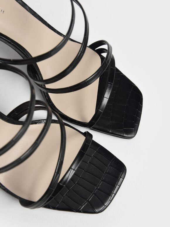鱷魚紋細帶高跟拖鞋, 黑色動物紋, hi-res