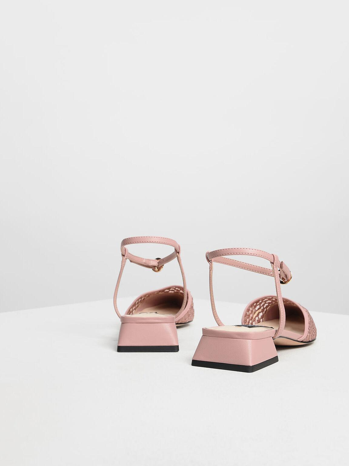 Mesh Mini Block Heel Sandals, Pink, hi-res