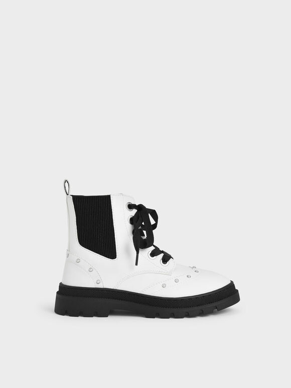兒童珍珠點綴短靴, 白色, hi-res