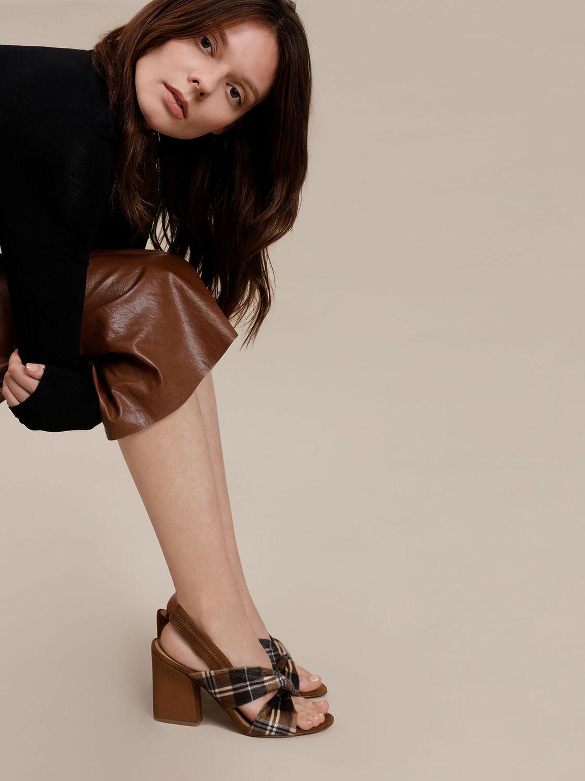 交叉扭結粗跟涼鞋, 咖啡色, hi-res
