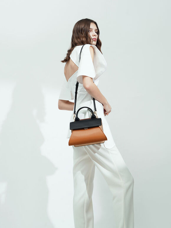 Small Two-Tone Sculptural Bag, Cognac, hi-res