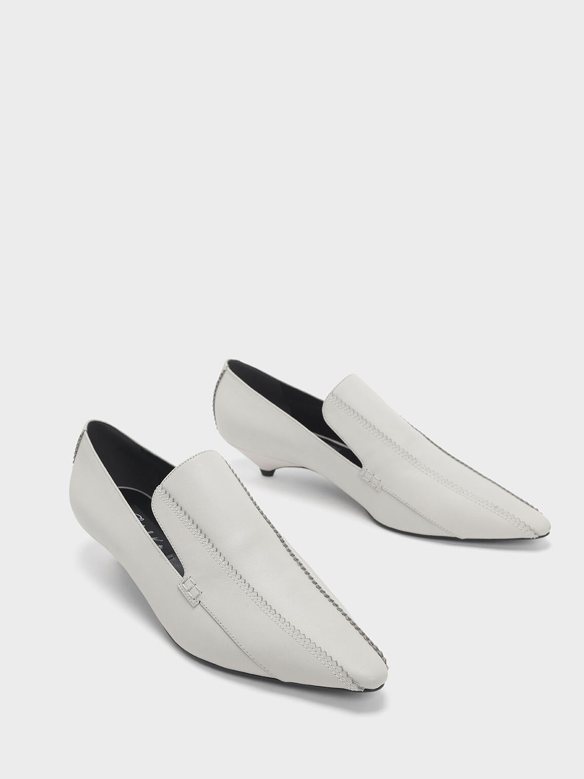 Zigzag Detail Leather Kitten Heel Loafers, Chalk, hi-res