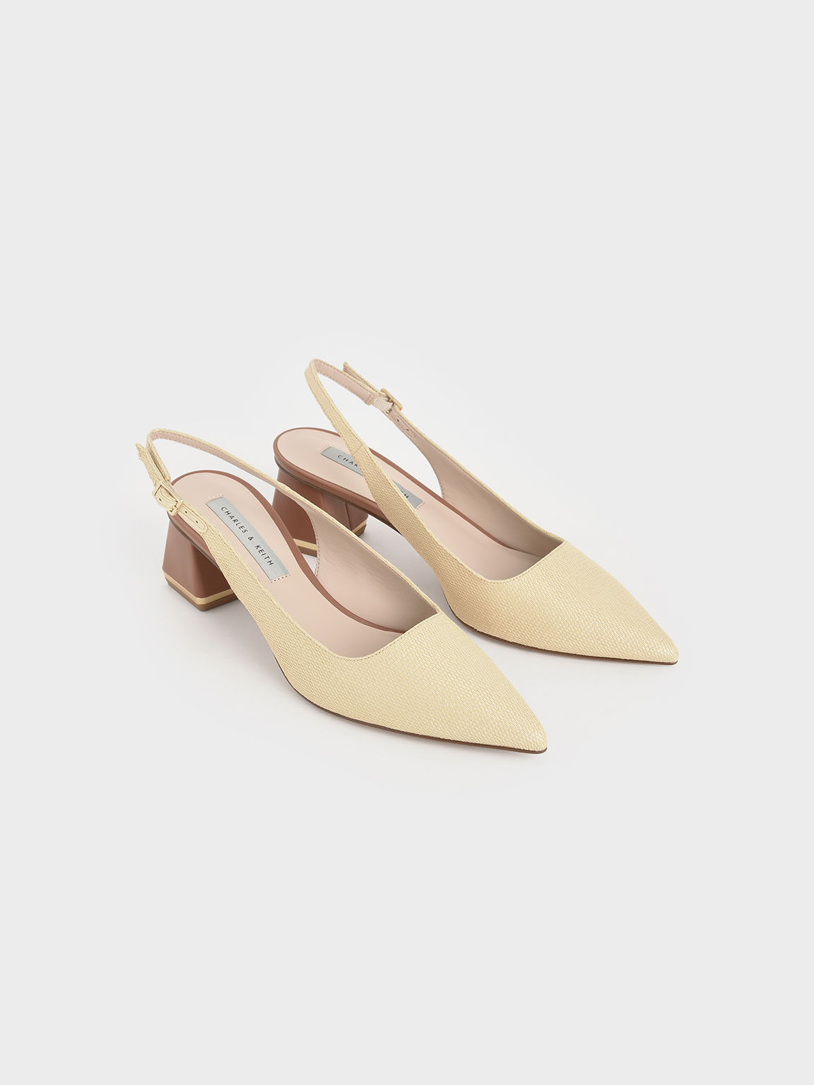 Raffia Metallic Accent Slingback Court Shoes, Sand, hi-res