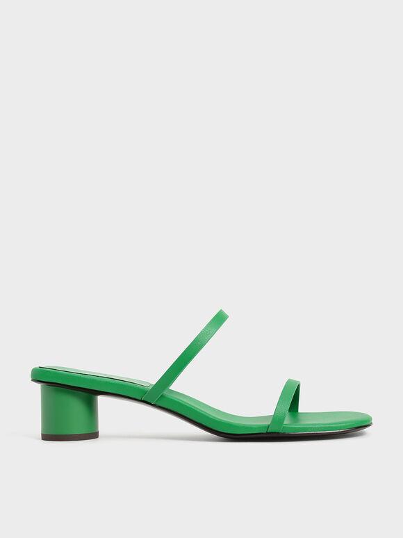 雙帶圓柱跟拖鞋, 綠色, hi-res