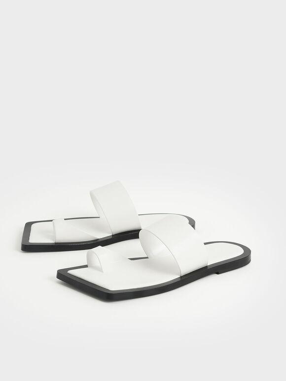 方頭趾環拖鞋, 白色, hi-res