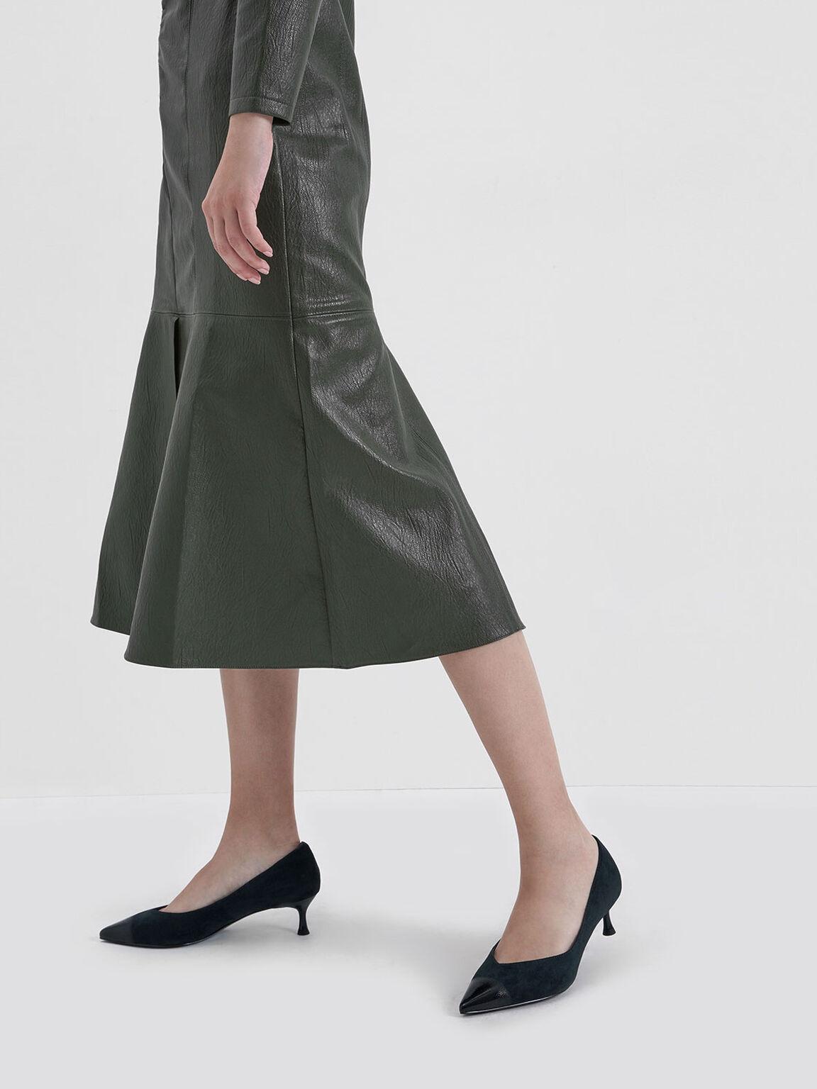 Brushed Effect Textured Sculptural Heel Pumps, Dark Green, hi-res