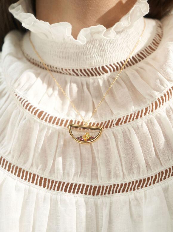 Semi-Circle Floating Locket Necklace, Gold, hi-res