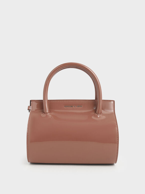 Patent Structured Cylinder Bag, Nude, hi-res