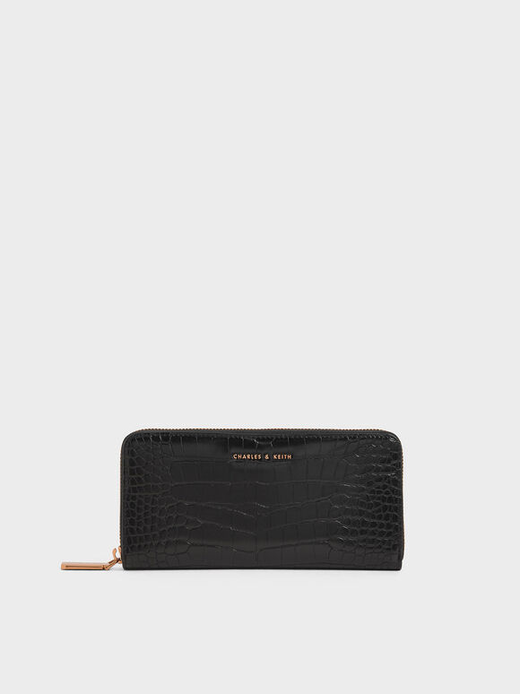 Croc-Effect Mini Long Wallet, Black, hi-res
