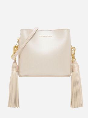 Tassel-Detail Sling Bag, Pearl