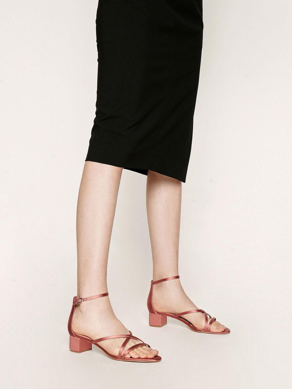 Satin Strappy Heeled Sandals, Pink, hi-res