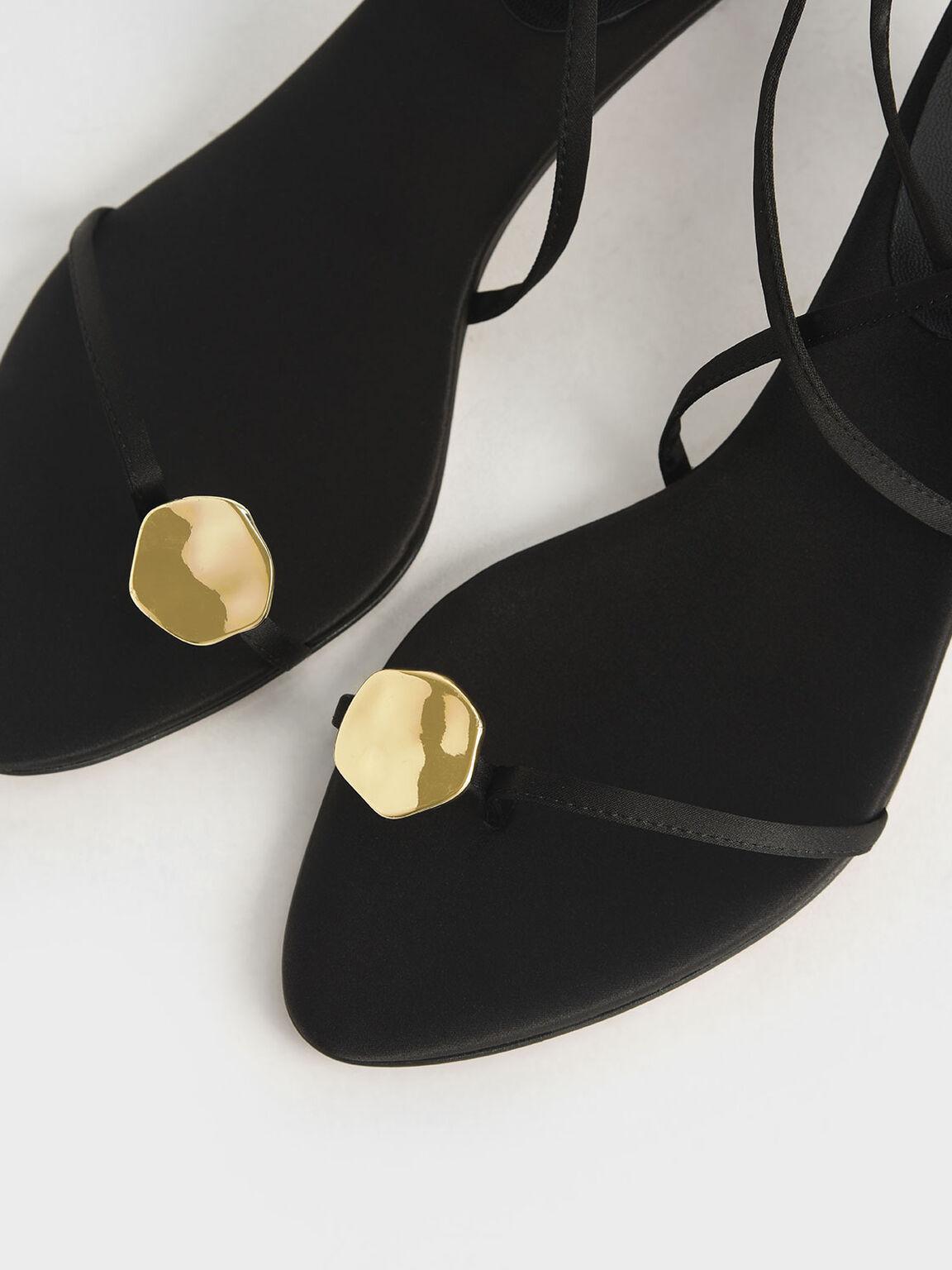 Metal Accent Satin Sandals, Black, hi-res