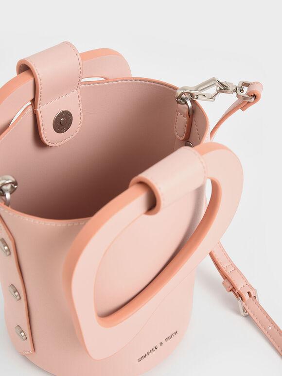 Sculptural Handle Bucket Bag, Pink, hi-res